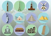 Human Settlement,Travel,World Map,Famous Place,Architecture,Wall - Building Feature,Ancient,Illustration,Vector,Computer Icon,Temple - Building,Mosque,Mahal,Coliseum,Pisa,Around,Asia,France,London - England,New,Statue of Liberty,Awe,Italy,Castle,Earth,Mexico,Tourism,Statue,Cultures,USA,China - East Asia,Tower,Taj Mahal,Parthenon - Athens,Kremlin,Paris - France,Journey,National Landmark,Russia,India,Japan