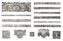 Scroll Shape,Etching,Frame,Woodcut,Engraved Image,Floral Pattern,Decoration,Old-fashioned,Ornate,Antique,Design Element,Pattern,Ancient,Art,Swirl,Sketch,Black And White,Ilustration,Isolated Objects,Antiquities