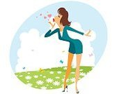 Summer,Love,Women,Girls,Vector,Field,Illustration,Nature,Human Hair,Flower,Females,Cartoon,Grass,Romance,Young Adult,Fashion,Day,Heart Shape,Beauty,feelings,Spring,Meadow,Happiness,Joy,Outdoors,Green Color,Beautiful,Cheerful,Sky,Smiling,Cute