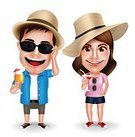 Summer,Vacations,Vector,Men,Teenage Girls,Illustration,Animated Cartoon,Real People,Caricature