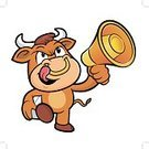 Cartoon,Cattle,Cow,Food,Bullhorn,Bull - Animal,Vector,The Media,Beef,Animal,Illustration,Wild Cattle,Marketing,Taurus,public-relations,Meat,Mascot,Korea,Megaphone,Mammal,Herbivorous