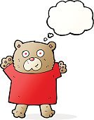 Cheerful,Drawing - Activity,Doodle,Bizarre,Clip Art,Rough,Illustration,Vector,Bear,freehand,Thought Bubble,Cute,Teddy Bear