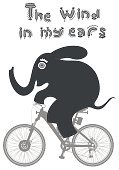 Cut Out,Humor,Animal Wildlife,Animal,Cute,Wind,Cartoon,Mammal,Illustration,Image,Cycling,Bicycle,Riding,Sport,Animal Trunk,Tail,Elephant,Large,Large,Fun,Vector,Design,Gray,Colors