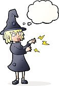 Cheerful,Drawing - Activity,Doodle,Bizarre,Clip Art,Rough,Illustration,Vector,Halloween,freehand,Thought Bubble,Cute,Witch