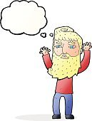 Cheerful,Drawing - Activity,Doodle,Bizarre,Clip Art,Rough,Illustration,Vector,Beard,freehand,Thought Bubble,Cute,Men
