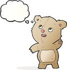 Cheerful,Drawing - Activity,Doodle,Bizarre,Clip Art,Rough,Illustration,Vector,Teddy Bear,freehand,Thought Bubble,Cute,Bear