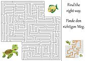 Backgrounds,Animal,Cartoon,template,Vector,Illustration,Turtle River,Fish,riddles,quizzes,Discovery,Fun,Outline,Maze