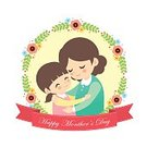 Love,Cute,Smiling,Females,People,Parent,Computer Graphic,Family,Daughter,Flat Design,Floral Pattern,Happiness,Cheerful,Girls,Women,Embracing,Vector,Banner,Child,Cartoon,Clip Art,Wreath,Flower,Teenage Girls,Illustration,Mother,Red,White,Greeting,Mother's Day,Isolated,Affectionate