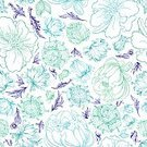 Abstract,Elegance,Creativity,Computer Graphics,Line Art,Plant,Doodle,Wedding,Summer,Illustration,Nature,Leaf,Outline,Computer Graphic,Seamless Pattern,Decoration,Drawing - Activity,Affectionate,Backgrounds,Vector,Blue,Pattern,Textile