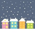 Backgrounds,Urban Scene,Hill,Multi Colored,Colors,Covering,Brick,Window,Heat - Temperature,Design,Dark,In A Row,Illustration,Outdoors,Town,Flat,Roof,Simplicity,Winter,Christmas,Residential Building,Snow,Falling,Snowing,Cute,Light - Natural Phenomenon,House,Night,Dusk,Computer Graphic,Vector,Holiday,Village,Cartoon