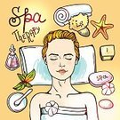 Homemade,People,Illustration,Women,Beauty Treatment,Vector,Candle,Spa Woman,Human Face,Facial Mask - Beauty Product,Infographic,Relaxation,Spa Treatment,Sea Spa,Starfish,Massaging,Spa Salon,Sheet,Backgrounds,Beauty Product,Facial Massage