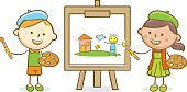 Paintings,Painting,Art,Creativity,Painted Image,Drawing - Art Product,Vector,Line Art,Baby Girls,Drawing - Activity,Illustration,Painter,Boys,Doodle,Cartoon,Isolated,Group Of People,Preschool Building,Team,Canvas,Child,Preschool Age,Showing