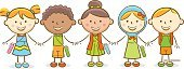 Line Art,Happiness,Group Of People,Cheerful,Togetherness,Cute,Education,Multi-Ethnic Group,Harmony,Child,Vector,Illustration,Friendship,Characters,Cartoon,Childhood,Doodle,Back to School