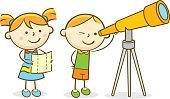 Child,Characters,Surveillance,Childhood,Telescope,Line Art,Outdoors,Doodle,Cute,Astronomy,Cartoon,Watching,Science,Illustration,Planet - Space,Sky,Star - Space,Space and Astronomy,Playing,Playful,Hand-Held Telescope,Looking,Star Shape,Vector