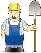 Construction Worker,Hardhat,Coveralls,Building Contractor,Cartoon,Shovel,Construction Industry,Characters,Sports Helmet,Industry,Industry,Construction,Illustrations And Vector Art,Isolated Objects