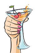 Females,Human Arm,Placard,Cartoon,Carnival,Freshness,Party - Social Event,Alcohol,Holiday,Holding,Champagne,Cocktail,Pub,Celebratory Toast,Old-fashioned,Water,Single Object,Isolated,Cosmopolitan Cocktail,Design,Drinking Glass,Bartender,Woman Hand,Alcohol,Announcement Message,Backgrounds,Banner,1960s Style,Advertisement,Vector,Vodka,Computer Graphic,Birthday,Celebration,Pop Art,Orange Color,Sketch,Retro Styled,White,Martini,Illustration,Communication,Ornate,Drink,Cherry