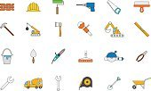 Construction Worker,Sign,Equipment,Construction Industry,Screwdriver,Collection,Illustration,Symbol,Business Finance and Industry,Technology,Hand Saw,Wrench,Business,Serrated,Repairing,Vector,Hat