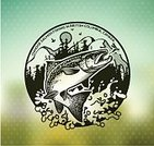 Fish,Fishing,Animal,River,Rod,Sea,Retro Styled,Catching,Nature,Vector,Hook,Fishing Hook,Freshwater Fishing,Outdoors,Wildlife,Fisherman,Nautical Vessel,Trout,Salmon,Seafood,Incentive