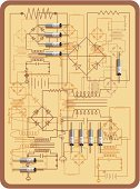 Electricity,Circuit Board,Diagram,Plan,Blueprint,Electronics Industry,Retro Revival,Electrical Equipment,Control Panel,Symbol,Flowing,Machinery,Organization,Electrical Component,Computer Chip,Panel,Chart,Transistor,Old-fashioned,Technology,Action,Communication,Order,Vector,Direct Current,Appliance,Bandwidth,Alternating Current,Textured,Backgrounds,Skill,Equipment,Open,Closed,Connection,Input Device,Ilustration,Technology,Vector Backgrounds,Technology Symbols/Metaphors,Electronics,Illustrations And Vector Art
