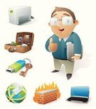 Occupation,Toolbox,Firewall,Technology,Thumbs Up,White Collar Worker,Businessman,Cheerful,Laptop,Happiness,Briefcase,USB Cable,Globe - Man Made Object,E-Mail,Hard Drive,Computer Network,Eyeglasses,Communication,Young Adult,Vector Icons,Vector Cartoons,Computers,Illustrations And Vector Art,Technology,Well-dressed