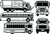 Garbage Truck,Fire Engine,Bus,School Bus,Clip Art,Tour Bus,Vector,Mode of Transport,Transportation,Land Vehicle,Illustrations And Vector Art