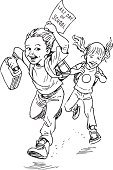 Little Boys,Little Girls,Running,Ilustration,Education,Black And White,Student,Vector,School Children,Drawing - Art Product,last day of school,Pen And Ink,hand drawn