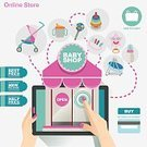 Baby,In A Row,Vector,Equipment,Illustration,Store,Retail,Bee,Banner,Label,Market,Shopping,Ideas,Fingernail,Shopping Cart,Poster,Application Software,Art Museum,Digital Tablet,Women,Baby Stroller,Flat,Symbol,Credit Card,Toy