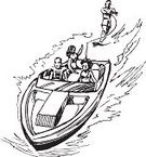 Waterskiing,Sailing,Nautical Vessel,Water,Drawing - Art Product,Recreational Pursuit,Ilustration,Water Sport,Black And White,Vector,hand drawn