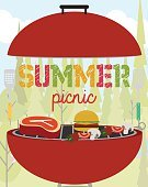 No People,Stove,Park Ji-Sung,Meadow,Picnic,Holiday - Event,Summer,Illustration,Nature,Symbol,Food,Fruit,Barbecue,Vector,Party - Social Event,,Vacations