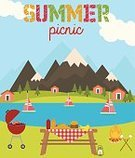 Picnic,Symbol,Meadow,Fruit,Stove,Barbecue,Food,Party - Social Event,Vacations,Nature,Park Ji-Sung,Summer,Holiday,Vector