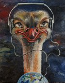 62990,Vertical,No People,Oil Paint,Painted Image,Headphones,Illustration,Ostrich,Earth
