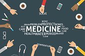 Infographic,template,Business,Vector,Single Word,Medicine,Problems,Food,Solution