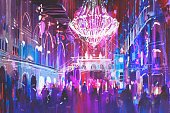Nightclub,Urban Scene,Crowd,Party - Social Event,Creativity,Oil Painting,Illustration,Indoors,Illuminated,Nightlife,Vibrant Color,Light - Natural Phenomenon,Modern,People,Painted Image,Art,Art And Craft,Architecture,Blue,Purple,Night,Watercolor Painting,Acrylic Painting,Built Structure,City,Multi Colored,Chandelier