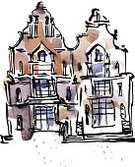 Town,Old,House,Street,Watercolor Paints,Watercolor Painting