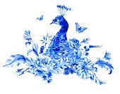 Feather,Bird,Rose - Flower,Blue,Flower,Watercolor Painting