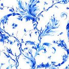 Pattern,Watercolor Painting,Blue,Flower,Seamless,Floral Pattern,Backgrounds