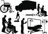 Silhouette,Wheelchair,Healthcare And Medicine,Hospital,Nurse,Ambulance,Doctor,Vector,People,IV Drip,Illness,Microscope,Women,Men,Group of Objects,Outline,Syringe,Physical Injury,Cartoon,Cut Out,Sketch,Female,Digitally Generated Image,Clip Art,Ilustration,Healthcare Worker,Black Color,Male,Design,White Background,Collection,Isolated,Adult,Illustrations And Vector Art,Isolated On White,Hospital Bed,Design Element