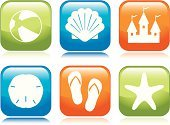 Beach,Symbol,Animal Shell,Computer Icon,Sand Dollar,Starfish,Sandcastle,Sandal,Ball,Interface Icons,Summer,Beach Ball,Sea,Inflatable,Blue,Fun,Green Color,Design,Orange Color,Vector,Sea Life,Square Shape,Design Element,Vacations,Nature,Shiny,Concepts And Ideas,Vector Icons,Nature,Illustrations And Vector Art,Summer