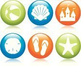 Animal Shell,Symbol,Beach Ball,Computer Icon,Sandcastle,Beach,Sea,Sand Dollar,Sandal,Ball,Starfish,Vector,Summer,Interface Icons,Recreational Pursuit,Vacations,Fun,Inflatable,Blue,Sea Life,Design Element,Circle,Orange Color,Design,Nature,Shiny,Vector Icons,Green Color,Summer,Illustrations And Vector Art,Concepts And Ideas,Nature