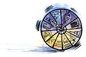 Clock,Discovery,Architecture,Arrow - Bow And Arrow,Illustration,Cultures,The Past,Image,Wheel,Circle