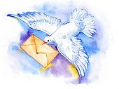 Illustration,Cute,Delivering,Messenger,Beak,Carrying,Holding,Feather,Envelope,Painted Image,Air,Pigeon,Mail,White,Flying,Bird