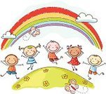 Child,Rainbow,Cartoon,Happiness,Drawing - Art Product,Childhood,Jumping,Cheerful,Little Girls,Friendship,Little Boys,Summer,Multi Colored,Playful,Fun,Ilustration,People,Sketch,Butterfly - Insect,Group Of People,Springtime,Togetherness,Child's Drawing,Laughing,Joy,Environment,Symbols Of Peace,Ethnicity,Communication,Meadow,Outdoors,Season,Weather,Preschooler,Children Only,Peace On Earth,Elementary Age,Vibrant Color