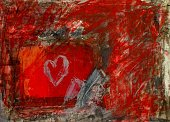 Painted Image,Abstract,Red,Heart Shape