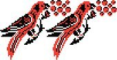 Pixelated,Cross-Stitch,Ukraine,Art,Embroidery,Ukrainian Culture,Bird,Cultures,Pattern,Indigenous Culture,Parrot,Simplicity,Nature,Abstract,Feather,Red,Sewing,Frame,Colors,Animals And Pets,Vector Icons,Leaf,Birds,Symbol,Backgrounds,Ethnic,Decoration,Illustrations And Vector Art,Stem,Black Color,Plant,Berry Fruit