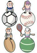 Rugby,Sport,Characters,Cartoon,Tennis,Ilustration,Football,Professional Sport,Soccer,Baseball Cap,Isolated On White,Competitive Sport,Vector,Vector Cartoons,Illustrations And Vector Art,Athlete,Baseballs,Sports And Fitness,Religious Icon,Baseball - Sport,Racket,Team Sports,Isolated,People,Tennis Racket,Ball