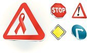 Alertness,At Attention,Three-dimensional Shape,Symbol,HIV,Stop Sign,AIDS,Computer Icon,People,Care,Traffic,Sign,Ribbon,Vector,Single Object,Danger,Warning Sign,Collection,Exclamation Point,Warning Symbol,Turning,Red,White,Healthcare And Medicine,Street,Ideas,Ilustration,Shiny,Glass - Material,health-care,Vector Icons,Yellow,Illustrations And Vector Art,Concepts And Ideas,Isolated