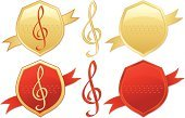 Music,Treble Clef,Label,Award,Shield,Seal - Stamp,Banner,Red,Incentive,Badge,Gold Colored,Award Ribbon,Treble,Vector,Design,Shiny,Ribbon,Metallic,Design Element,Second Place,Winning,Set,Perks,Success,First Place,Third Place,Placard