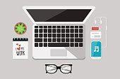 Music,Laptop,Backgrounds,Illustration,Infographic,Telephone,Business,Mobile Phone,On Top Of,Desk,Office,Eyeglasses,Pen,Headphones,Vector,Flat,PC,Mobility