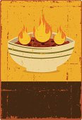 Chili,Bowl,Soup,Food,Retro Revival,Grunge,Old-fashioned,Poster,Sign,Spice,Vector,Flame,Ilustration,Torn,Distressed,Banner,Ruined,Food Backgrounds,Design Element,Placard,Copy Space,Food And Drink,Vector Backgrounds,Illustrations And Vector Art,Food Staple,Chilli Powder,Scratched,Damaged