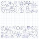 Cocktail,Beach,Doodle,Sunglasses,Vector,Pencil Drawing,Notebook,Checked Pattern,Travel,Illustration,Whale,Steering Wheel,Wheel,Set,Eyeglasses,Note Pad,Bell,Swimwear